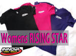 Innova Swoosh and Rising Star Logo Womens Rapid Dry T-Shirt (Short Sleeve) (Rapid Dry Single Color T-Shirt (Short Sleeve), Ladies Innova Swoosh (Front Left) and Rising Star Logo (Back))